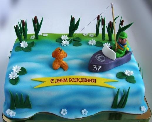 торт с фотопечатью для рыбака